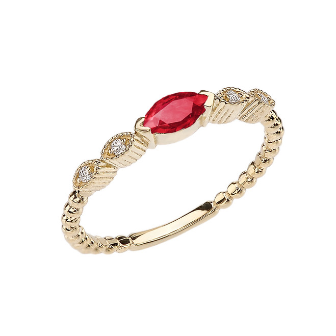 Ruby and Diamond Marquise Cut Engagement/Proposal Beaded Ring in Yellow Gold