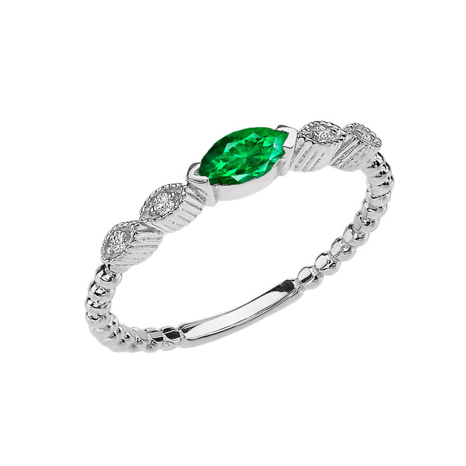 Emerald(LCE) and Diamond Marquise Cut Engagement/Proposal Beaded Ring in White Gold