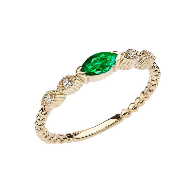 Emerald(LCE) and Diamond Marquise Cut Engagement/Proposal Beaded Ring in Yellow Gold