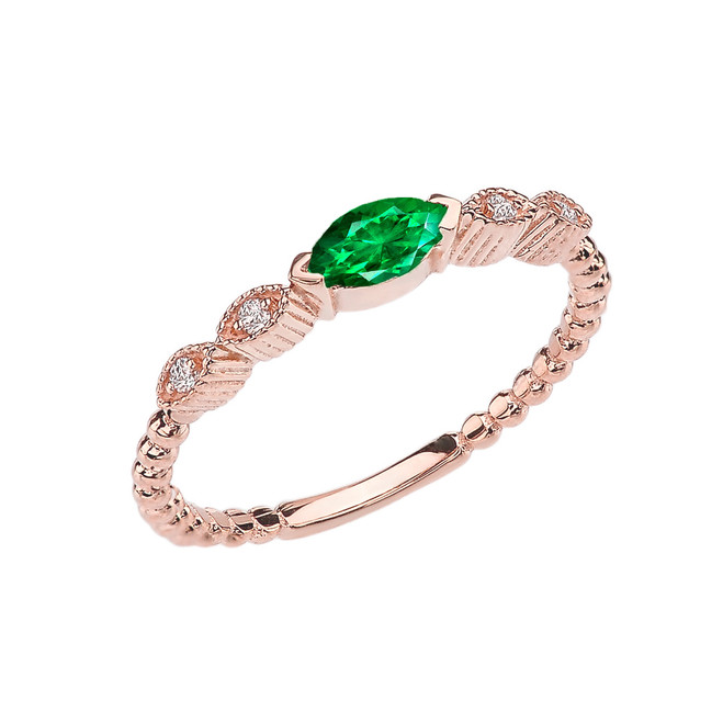 Emerald(LCE) and Diamond Marquise Cut Engagement/Proposal Beaded Ring in Rose Gold