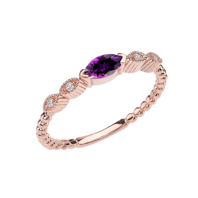 Amethyst and Diamond Marquise Cut Engagement/Proposal Beaded Ring in Rose Gold