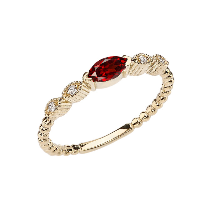 Garnet and Diamond Marquise Cut Engagement/Proposal Beaded Ring in Yellow Gold