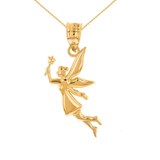Yellow Gold Angel Fairy Magic Wand Pendant Necklace