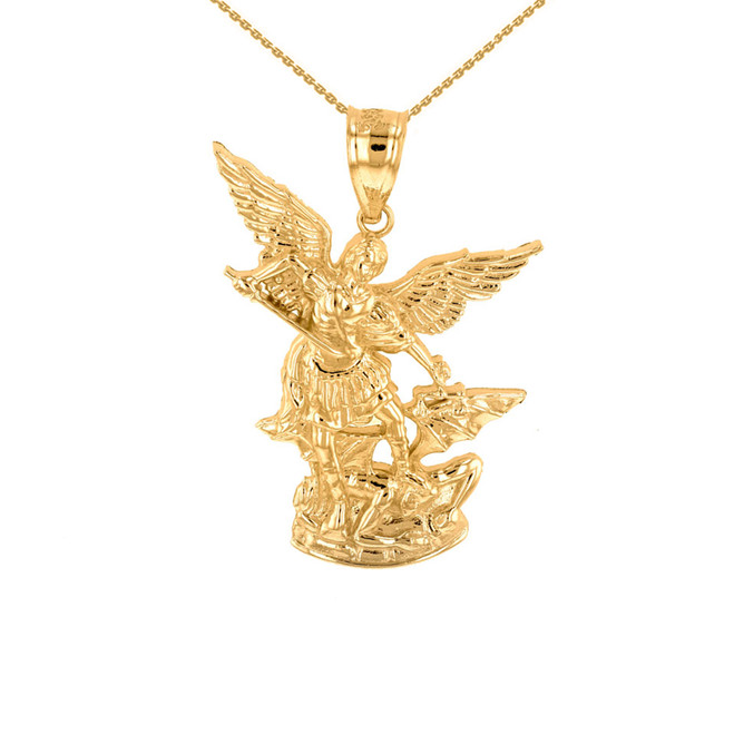 Yellow Gold St Michael The Archangel Pendant Necklace