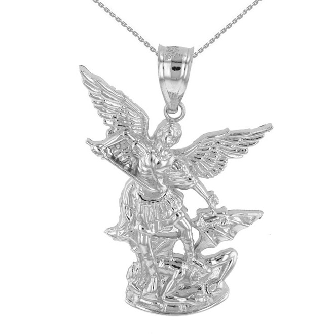 """Sterling Silver St Michael The Archangel Pendant Necklace (1.35"""")"""