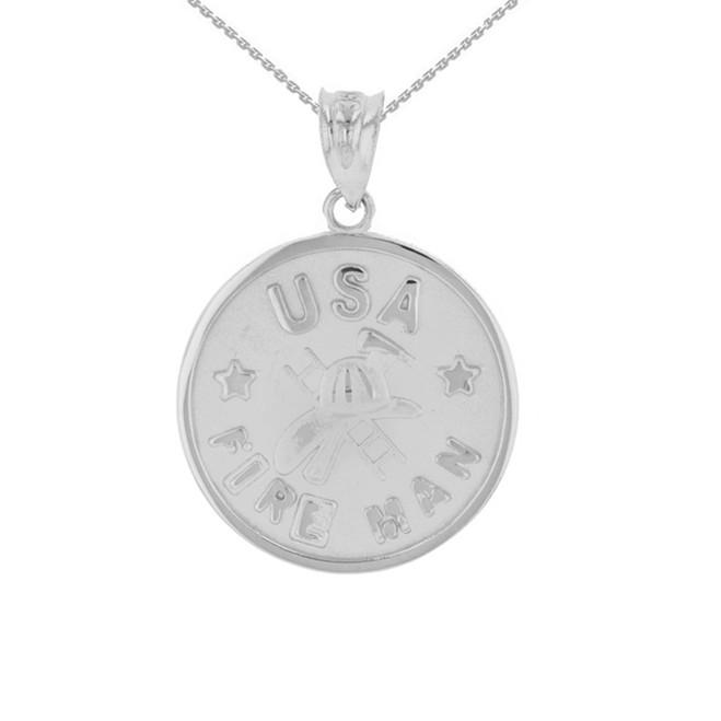 White Gold USA Firefighter Medallion Pendant Necklace