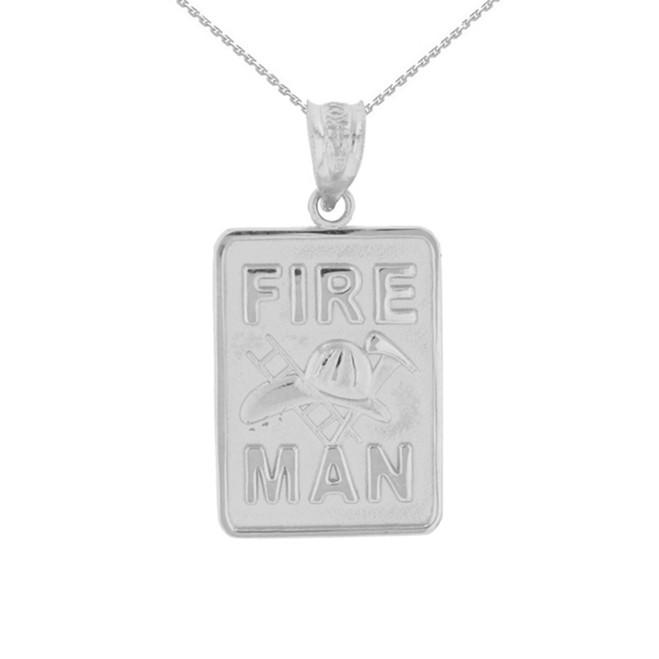 Sterling Silver Fire Man Emblem Pendant Necklace