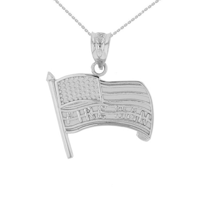 Sterling Silver Fire Man American Flag Pendant Necklace