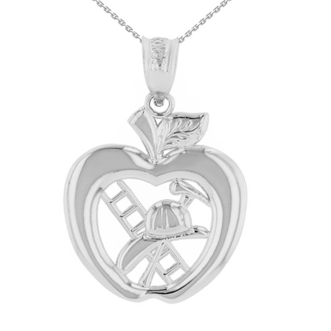 Sterling Silver New York Fire Department Big Apple Firefighter Pendant Necklace
