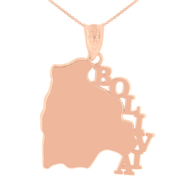 Rose Gold Bolivia Country Pendant Necklace