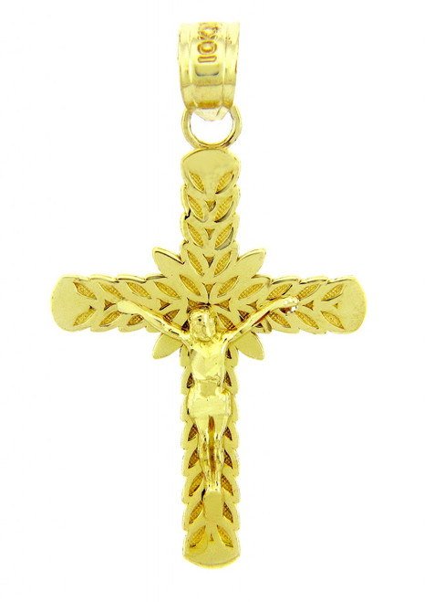 Yellow Gold Crucifix Pendant - The Laurel Crucifix