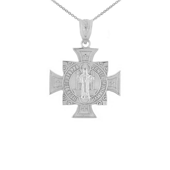 White Gold Saint Benedict Cross Pendant Necklace