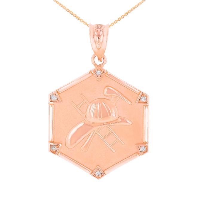 Rose Gold  Firefighter Hexagon Diamond Pendant Necklace