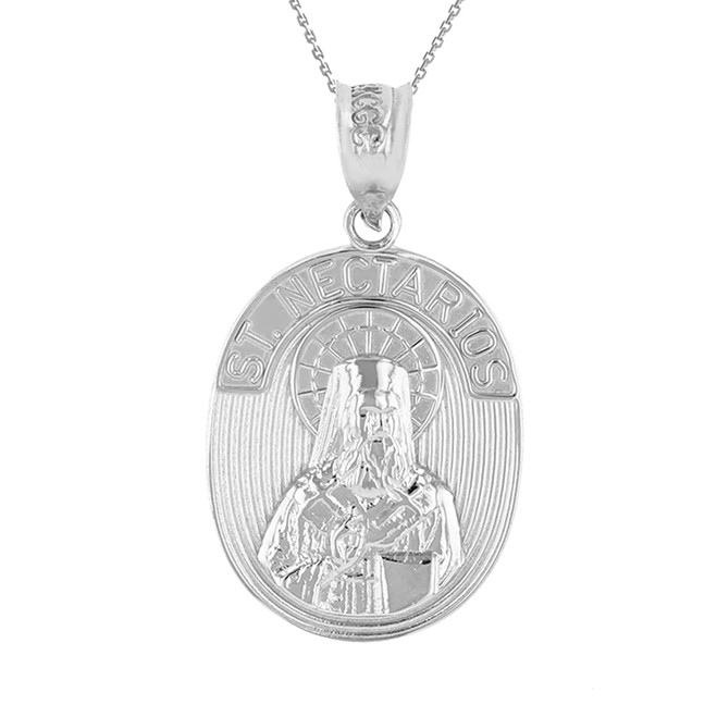Sterling Silver Saint Nectarios of Aegina Greek Orthodox Engravable Pendant Necklace