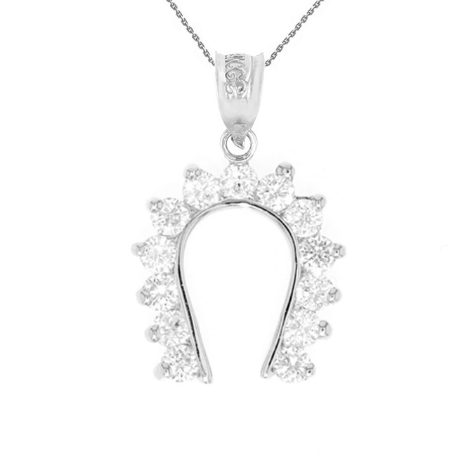 Horseshoe Good Luck Cubic Zirconia Pendant Necklace in White Gold