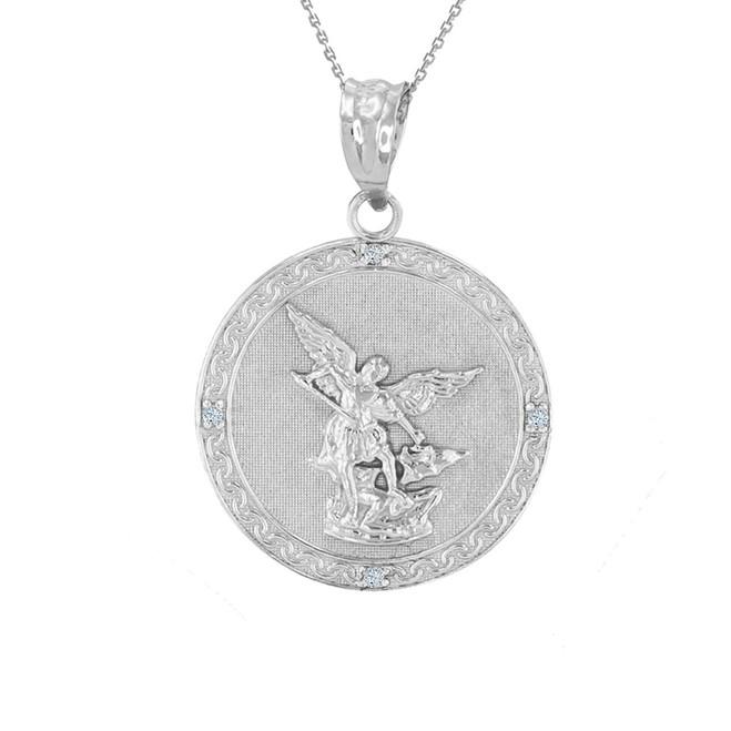"""White Gold St Michael Archangel Diamond Pendant Necklace ( 1.02"""" )"""