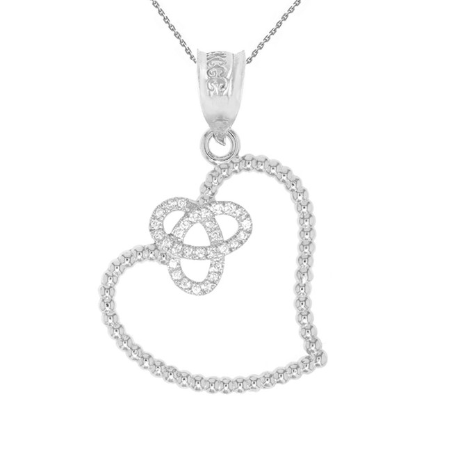 White Gold Trinity Heart and Diamond Pendant Necklace