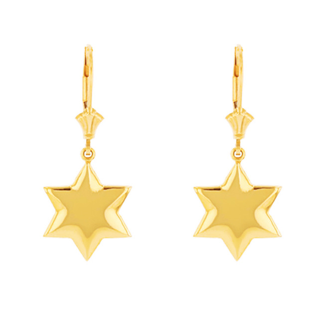 Solid Yellow Gold Star Earring Set