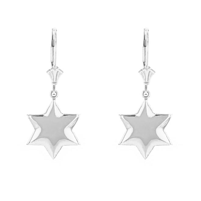 14K Solid White Gold Star Earring Set