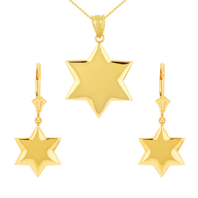 14K Solid Yellow Gold Star Pendant Necklace Earring Set
