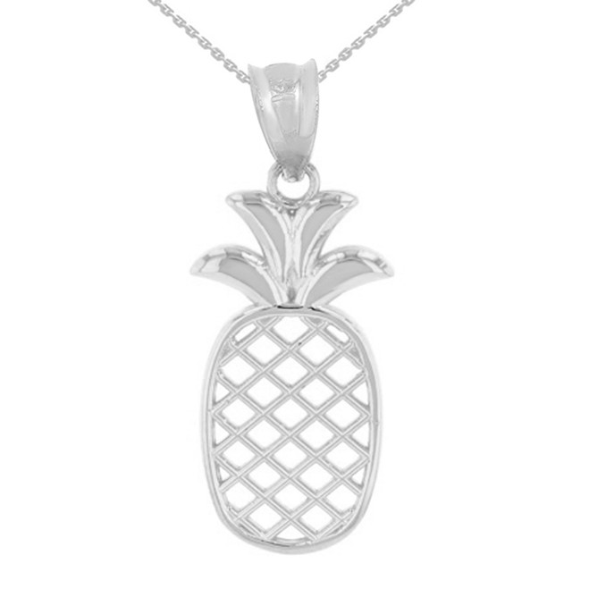 Solid White Gold Pineapple Pendant Necklace