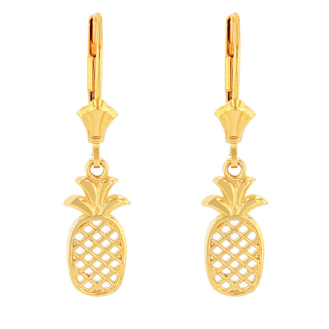 Solid Yellow Gold Pineapple Earring Set