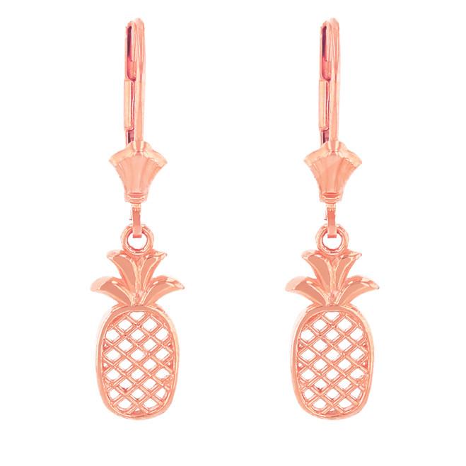 14K Solid Rose Gold Pineapple Earring Set