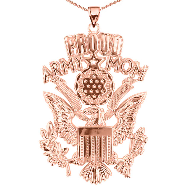 Rose Gold Proud Army Mom Pendant Necklace
