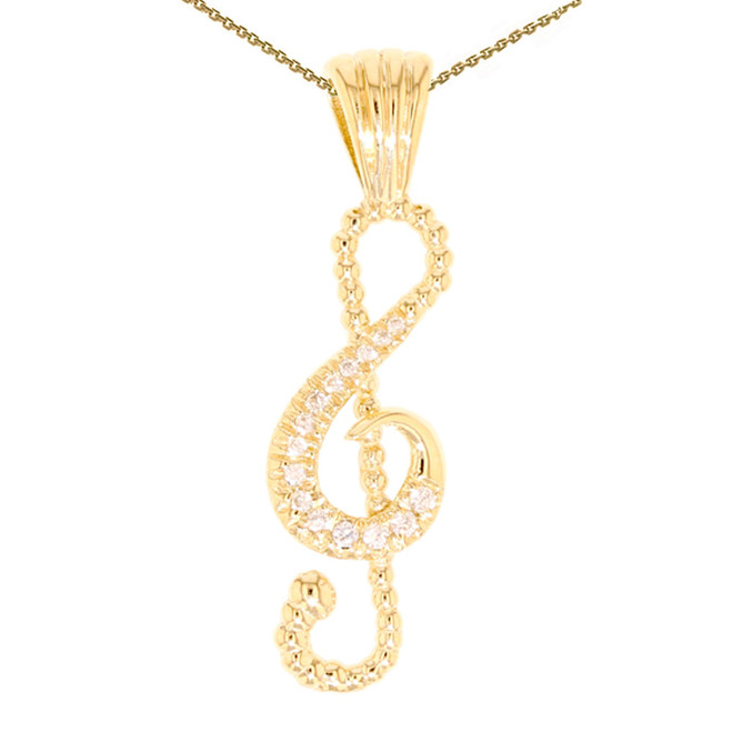 Yellow Gold Music Note Pendant Necklace