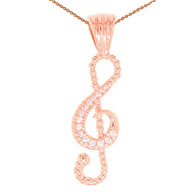 Rose Gold Diamond Music Note Pendant Necklace