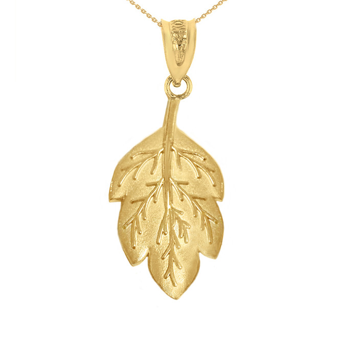 Solid Yellow Gold Matte Detailed Textured Leaf Pendant Necklace
