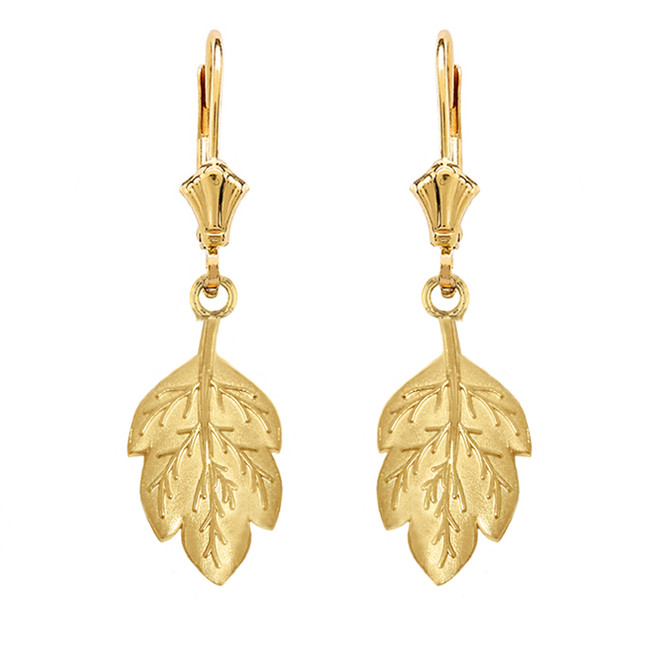 Solid Yellow Gold Matte Detailed Textured Leaf Drop Earring Set