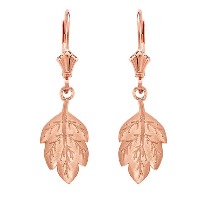 14K Solid Rose Gold Matte Detailed Textured Leaf Drop Earring Set
