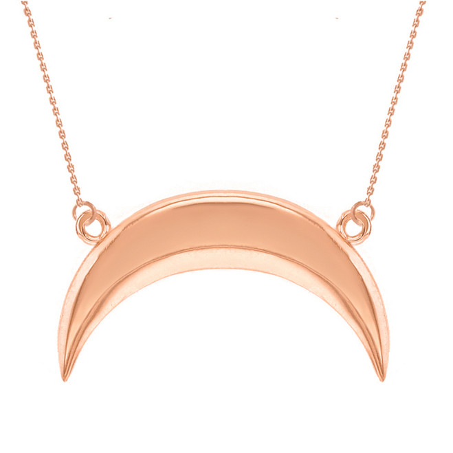 14K Solid Rose Gold Upside Down Moon Crescent Pendant Necklace