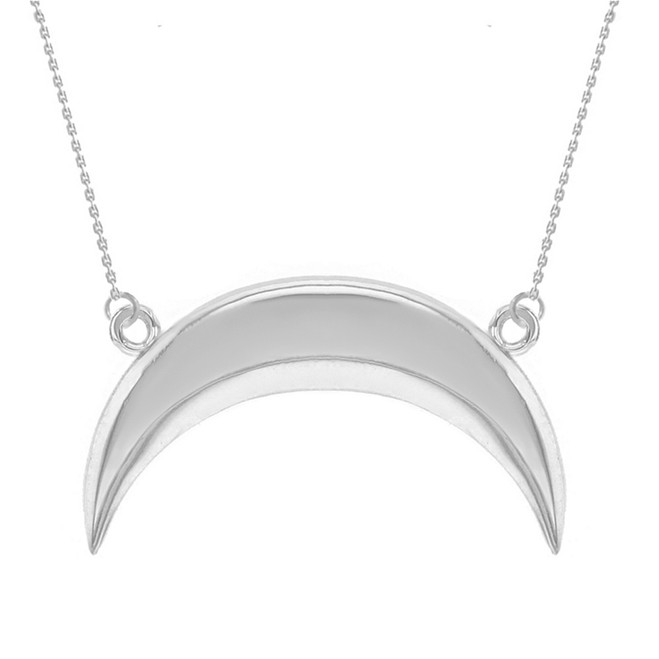 14K Solid White Gold Upside Down Moon Crescent Pendant Necklace