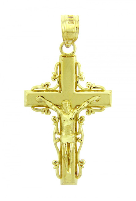 Yellow Gold Crucifix Pendant - The Triumph Crucifix