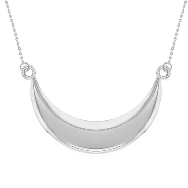 14K Solid White Gold Moon Crescent Pendant Necklace