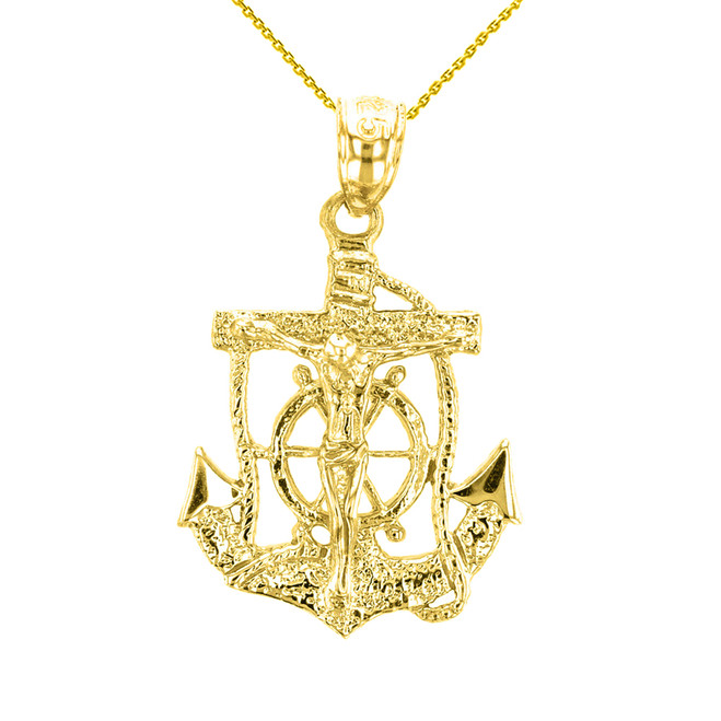 Yellow Gold Mariners Anchor Crucifix Pendant Necklace