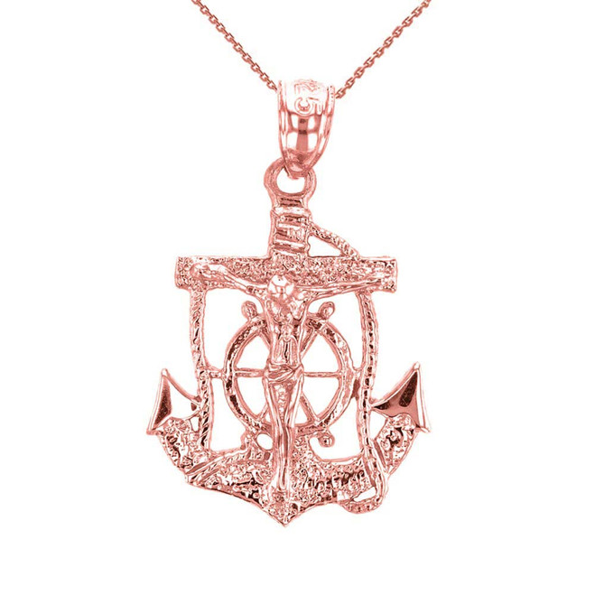 Rose Gold Mariners Anchor Crucifix Pendant Necklace