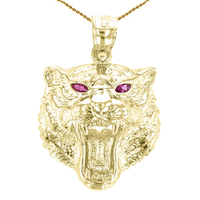 Yellow Gold Roaring Bengal Tiger With Red CZ Eyes Pendant Necklace