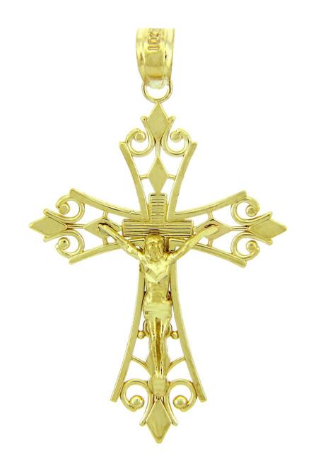Yellow Gold Crucifix Pendant - The Worship Crucifix