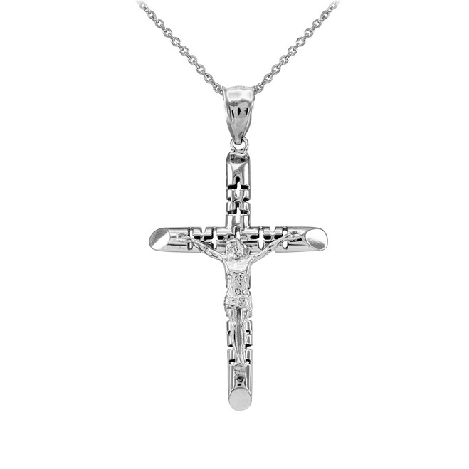 White Gold Crucifix Pendant Necklace - The Love Crucifix