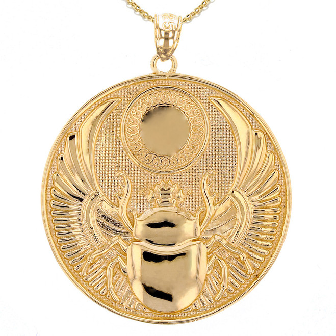 Yellow Gold Ancient Egyptian Scarab Beetle Pendant Necklace