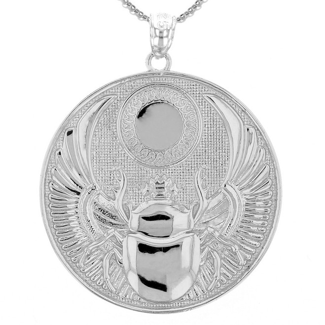 White Gold Ancient Egyptian Scarab Beetle Pendant Necklace