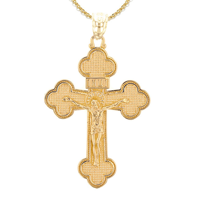 Yellow Gold Eastern Orthodox Crucifix Cross Pendant Necklace