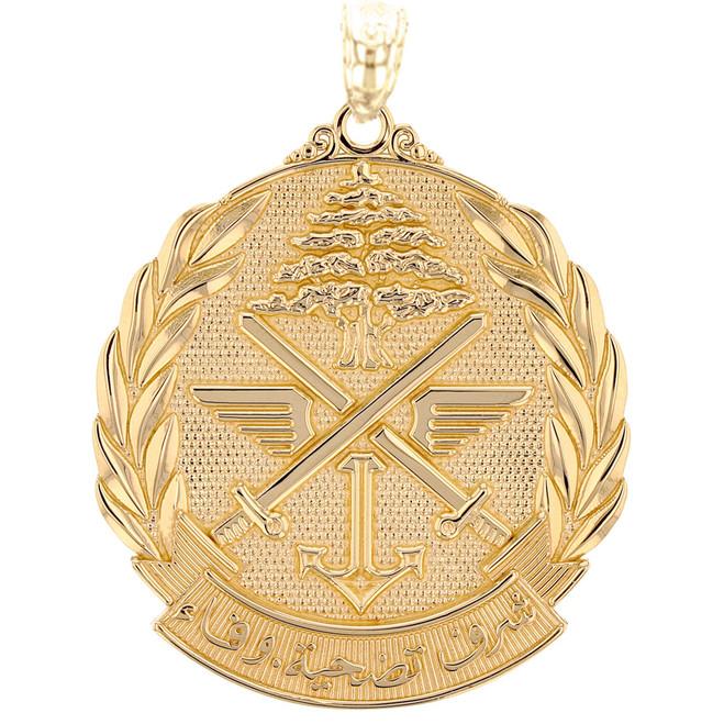 Yellow Gold Lebanese Army Emblem Pendant