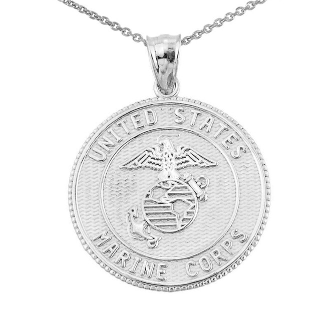 Solid White Gold US Marine Corps Pendant Necklace