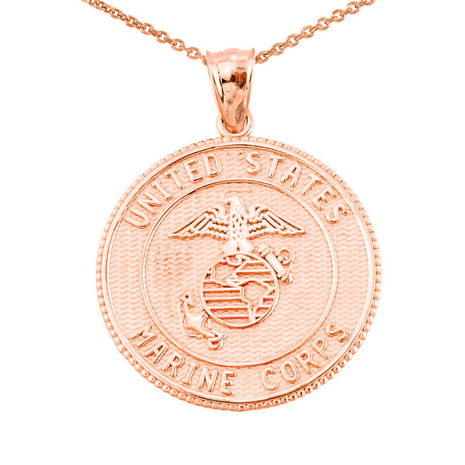 Solid Rose Gold US Marine Corps Pendant Necklace