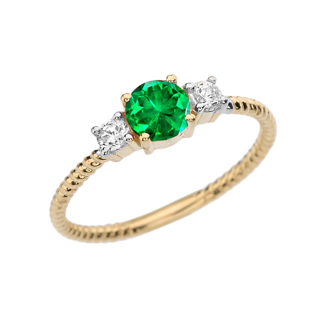 Dainty Yellow Gold Emerald and White Topaz Rope Design Engagement/Promise Ring