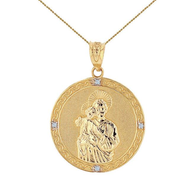 "Solid Yellow Gold Saint Joseph Diamond Medallion Pendant Necklace  1.04"" ( 26 mm)"